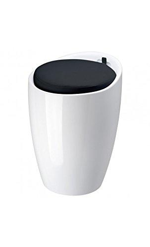 Pouf Pop tabouret et coffre de rangement Blanc coussin noir ABS La chaise longue 32-M1-025N