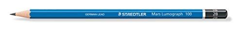 Staedtler 100-2B Mars Lumograph Bleistift, 100 Härtegrad, 2B, 12 Stück im Kartonetui