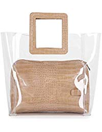 FANCY LOVE Classy impermeabile trasparente secchio Tote Beach Shoulder Crossbody Bag (4)