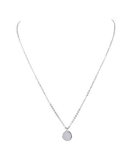 SIX Damen Halskette, Gliederkette, Anhänger, Kreis, Anfangsbuchstabe, Buchstabe, Initialien, S, Name, Silber (779-956)