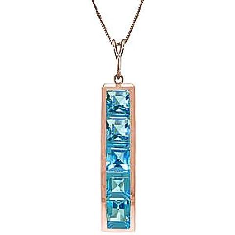 QP gioiellieri naturale topazio blu ciondolo collana in oro rosa 9kt, 2,25ct, taglio