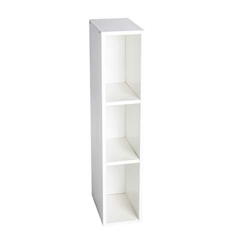 Puckdaddy Stauraumregal Lasse - 19x30x93 cm, Stand-Regal aus Holz in Weiß passend zu IKEA Hemnes Kommode, Fächerregal für Wickelkommoden, Wickeltisch-Regal zur Kinderzimmer-Aufbewahrung
