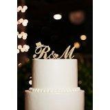 Topper per torta, con iniziali dei nomi degli sposi, con cappellino, personalizzabile