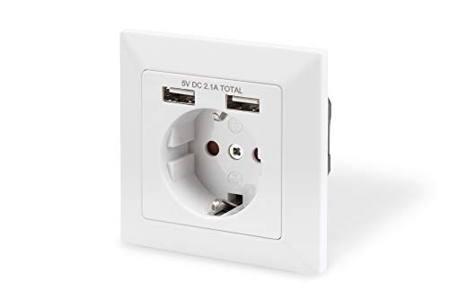 DIGITUS Unterputz-Steckdose mit USB Ladegerät - 2 Buchsen - 5V / 2,1A Gesamt - Reinweiß RAL 9003 - Bis 250V 50Hz -