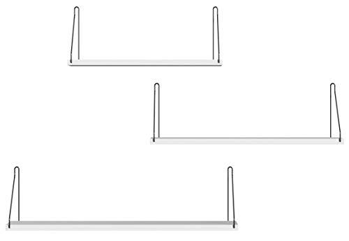SONGMICS Wandregal, 3er Set, Schweberegal, dekorative Regale, für Schlafzimmer, Wohnzimmer, Küche und Flur, pro Regal bis 15 kg belastbar, verschiedene Längen 40, 50, 60 cm, weiß LWS68WT
