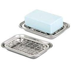 Idea Regalo - mDesign Set da 2 portasapone – Moderni accessori bagno da appoggio in acciaio – Cesti portasapone con griglia rimovibile – argento