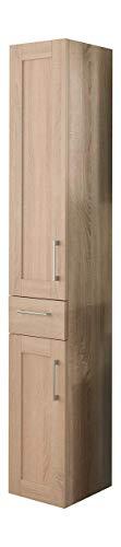 Kesper Badmöbel 6046710193401000 Hochschrank Montana, 2 Türen, 1 Schubkasten, 182,5 x 30 x 31,5 cm, Eiche