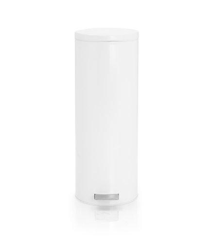 Brabantia Slimline Pedal Bin 478505 - Cubo de basura, 20 litros, tapa silenciosa, cubo interior de plástico extraíble, color blanco