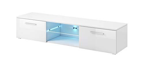 E-com - Meuble TV Armoire Tele Table Television Samuel avec Lumieres LED Bleues - 150 cm - Blanc