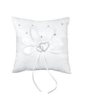 Weiß Doppel Herz Kristall Strass Ring Kissen Hochzeit Ring Inhaberaktien Kissen (Ring Kissen Inhaberaktien)