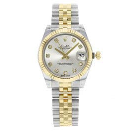 Rolex Datejust Lady 31 Automatic Silver Dial set with Diamonds 18kt Yellow Gold and Stainless Steel Ladies Watch 178273SDJ