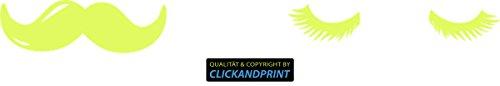 ber » WC Sticker Bart & Wimpern, 40x4,3cm, Neon Gelb • Dekoaufkleber / Autoaufkleber / Sticker / Decal / Vinyl (40 Wimpern)