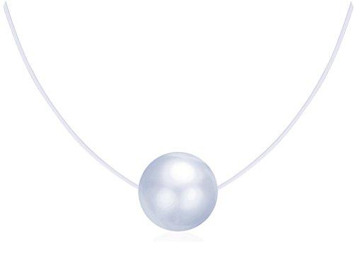 Unendlich U Kreativ Damen Halskette 925 Sterling Silber Perle Anhänger Transparente Angelschnur Nylonkette, Silber (Angelschnur Perlen)