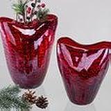 Jarrón Rojo con tiras de cristal multicolor con rayas negro hecho a mano cm 16x 20
