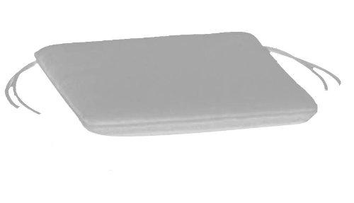 Arketicom pacco da 4 cuscini artigianali per sedie quadrati con 2 laccetti antiscivolo misto cotone poliestere color bianco cm 45x45x3 (cuscino quadrato sedia casa cucina giardino)