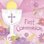 Pink First Communion Beverage Napkins 36 count