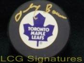 Signed Bower, Johnny (Toronto Maple Leafs) Toronto Maple Leafs Hockey Pock autographed