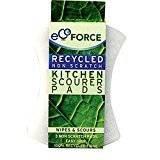 ECOFORCE Spugnetta Abrasiva Delicata per la cucina - In tessuto riciclato - Impugnatura facile e sicura - In confezione da 3 pezzi - Non graffia le superfici