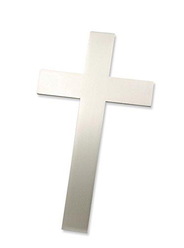 Motivationsgeschenke Wandkreuz Edelstahl Schlicht mattiert Kruzifix 15,5 cm Handarbeit Stahlkreuz