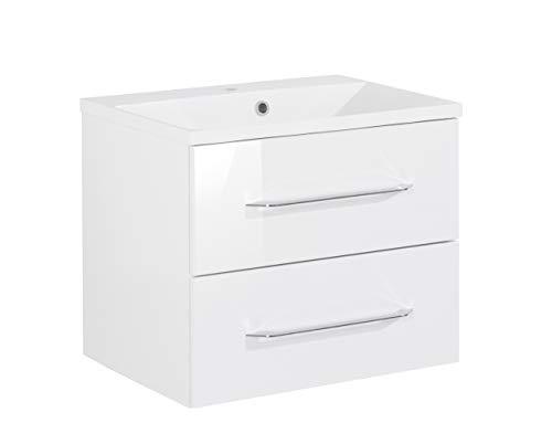 FACKELMANN Waschtischunterschrank inkl. Gussbecken B.CLEVER/Soft-Close-System/Maße (B x H x T): ca. 60 x 48,5 x 46 cm/Möbel fürs WC oder Badezimmer/Schrank: Weiß/Becken: Weiß