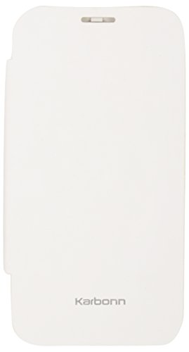 iCandy™ Synthetic Leather Flip Cover For Karbonn Titanium S9 - WHITE  available at amazon for Rs.180