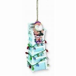 Tiki Ocean Beach Santa Lifeguard Christmas Ornament by CAPE SHORE (DOWNEAST CONCEPTS)