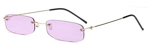 ZJMIYJ Sonnenbrillen Rechteck randlose Sonnenbrille Frauen Designer kleine Frame Sonnenbrillen für Weiblich Männlich Retro Eyewear schmale Gläser lila