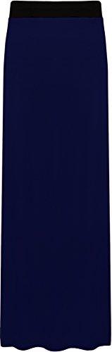 WearAll - Damen Übergröße Elastisch Stretch Maxi Rock in Voller Länge - Marineblau - 52-54