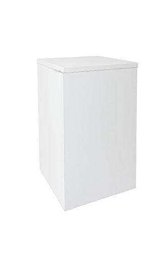 Hermes24 Beistelltisch Blumenhocker Sofatisch Ablage BHW50 B/T/H 30 x 30 x 50 cm Weiß Glänzend