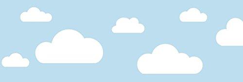 lovely label Frise murale adhésive enfant à motifs nuages bleu - Frise chambre enfant garçon de 450 x 11,5 cm - Décoration murale chambre bébé autocollante et non toxique, fabriqué en Allemagne
