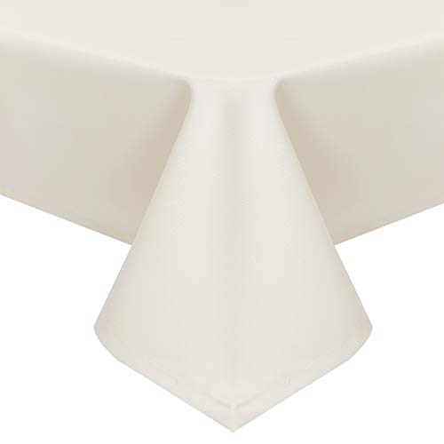 EUGAD Tischdecke Abwaschbar Tischwäsche Wasserabweisend Tischtücher Lotuseffekt Eckig viele Größe Farbe wählbar, 130x280 cm Creme