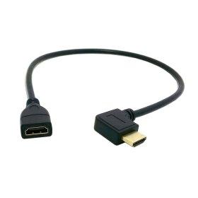 chenyang izquierda en ángulo de 90grados Conector HDMI 1.4con Ethernet y 3d tipo A macho a A hembra cable de extensión de 0,5m