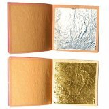 10Blatt Silber Lebensmittel 4cm Seite + 10Stück, Blattgold essbar von 3,5cm Seite -