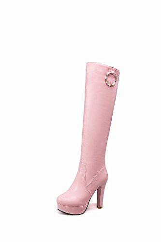 Mee Shoes Damen Reißverschluss Plateau high heels langschaf Stiefel Pink