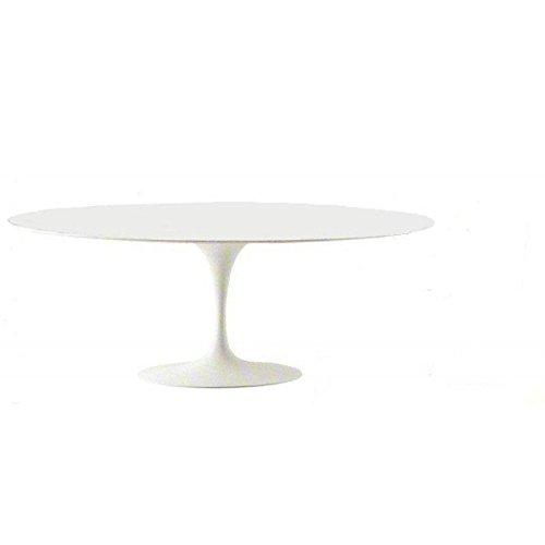 Holz-laminat Base (Tavoli.Design Tulip Tisch Eero Saarinen Oval Laminat Flüssigkeit 169x 111Base weiß)