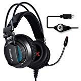 XIBERIA V10 PS4 PC Gaming Cuffie 7.1 Audio Circondare Cancellazione del rumore Over-Ear Auricolari con Microfono (Grigio)
