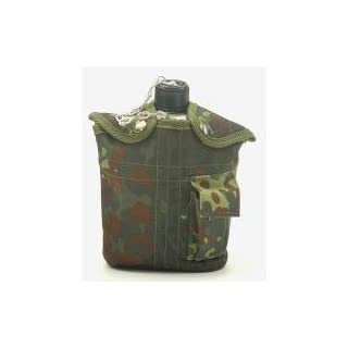 US Army Style Outdoor aluminum water bottle with drinking cup and cover 1 liter water bottle canteen in different colors (Flecktarn)