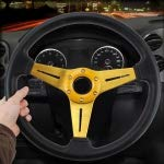 RISHIL WORLD 35cm PU Racing Sport Hand Wheel Car Modified Steering Wheel(Gold)