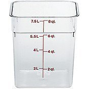 Cambro CamSquare Food Container Translucent, 8 qt (Case of 6) by Cambro -