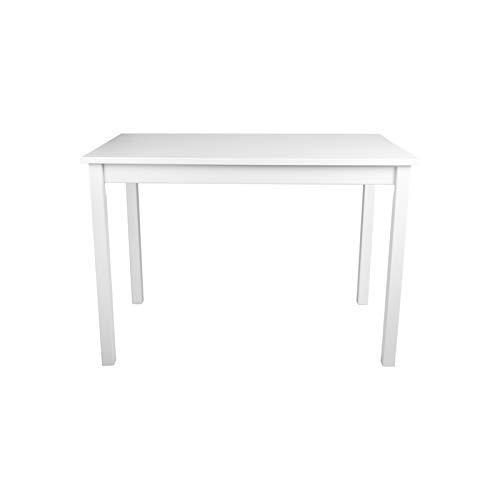 Dell'art Esstisch aus Massivholz Buche, 70 x 50, 70 x 70, 110 x 70, 140 x 80, Farbauswahl weiß, schwarz, braun, unifarben, zweifarbig, Holztisch für Wohnzimmer, Esszimmer (Weiß, 110 x 70 cm)