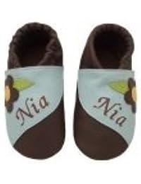nipula® Piel puschen con nombres Flores a rayas color marrón oscuro/azul verdoso gr