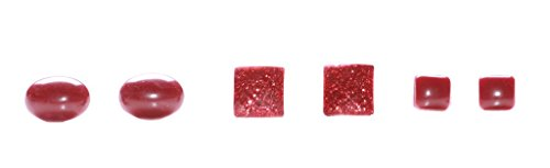 Casual Junges inspiriert Auburn Rot Metallic Quadrat/Oval Perlen Ohrringe Set (zx79)