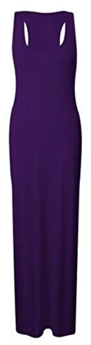 New Womens Muscle Racer Shaped Back Sleeveless Round Scoop Dresses Ladies Vest Long Stretch Maxi Plain Dress Plus Size Purple Size 16-18