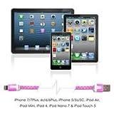 Lightning Kabel - 2m, Rosa, geflochten flach - Sehr schnelles iPhone 7 Ladekabel - verstärktes USB Datenkabel mit Knickschutz - Für Apple iPhone 7 6 5, iPad, iPod - SWISS-QA Geldrückgabe Garantie - 5