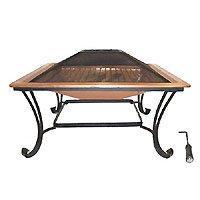 Catalina Creations 83,8cm 100% Solides Kupfer quadratisch Terrasse Fire Pit mit Log Rost, Spark Display, Lift Werkzeug, und Schutzhülle (Lagerung Cover Bench)