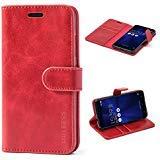 Mulbess Ledertasche im Ständer Book Case / Kartenfach für Asus ZenFone 3 ZE520KL (5,2 Zoll) Tasche Hülle Leder Etui,Wine Rot