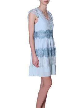 Kleid Twin Set Spitze, Hellblau, Aqua, Marina, 46 -