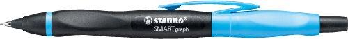 Ergonomischer Druck-Bleistift mit Radiergummi - STABILO SMARTgraph in schwarz/cyan - Härtegrad HB -...