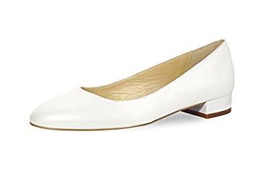 Fiarucci Brautschuhe Ballerina - White Patent, Weiss, Lack-Leder, Flach, Hochzeitsschuhe, Blockabsatz 1,5 cm Tanzschuhe, Abendschuhe, Größe 36,5 (UK 3,5) (Leder Schuhe Ballerina Flache Patent)