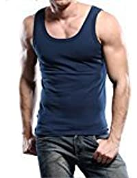 EDTara Men's Elastic Soft Sleepwear Lounge Cotton Sleeveless Slim Vest Tank Top Shirt Pajama Blue Asia XL